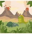 prehistoric wildlife nature landscape with dinos vector image vector image