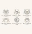 retro royal vintage shields logotype set vector image vector image
