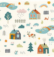 seamless childish pattern with cute village vector image