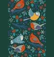 seamless pattern with winter birds and floral vector image