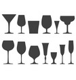 set of wineglass and glass icons isolated on vector image vector image