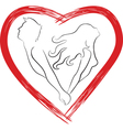 Silhouette of couple shaped heart vector image vector image