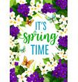 springtime crocuses flowers frame poster vector image vector image