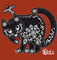 stylized black and white patterned cat on red vector image vector image