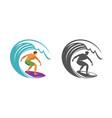 surfing symbol surfer and wave emblem vector image vector image