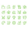 tea simple color line icons set vector image vector image