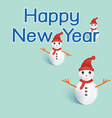 Three snowmans with happy new year on green vector image