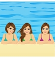 three young women in swimming pool vector image vector image