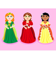 Trio of cartoon princesses vector image vector image