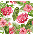 tropical flower seamless pattern vector image vector image