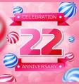 twenty two years anniversary celebration design vector image