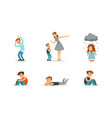unhappy depressed children set stressed kids vector image vector image