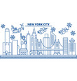 usa new york new york city winter city skyline vector image