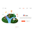 visit usa - modern colorful isometric web vector image vector image