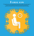 waiting Floral flat design on a blue abstract vector image vector image
