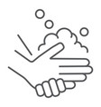 washing hands with soap thin line icon wash and vector image vector image