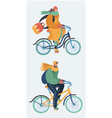 woman and man riding bicycle in winter season vector image
