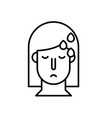 woman with fever covid19 symptom line style icon vector image vector image