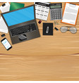 workplace with object and tools on wood table vector image