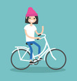 young brunette girl riding a bike and waving her vector image
