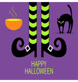Cat arch back Cauldron green potion Witch legs vector image