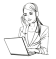 a secretary with headphones vector image