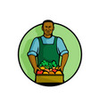 african american green grocer greengrocer mascot vector image vector image
