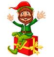 an elf sitting on big gift box vector image