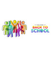 back to school card diverse colorful class vector image vector image