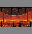 background landscape - hot cave with lava vector image