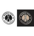 barbershop round badge with scissors vector image vector image