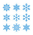blue outline snowflake icons vector image