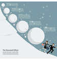 business man and woman running away from snowball vector image