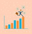 businessman run on financial diagram vector image