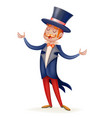 circus show host boy man suit cylinder hat icon vector image vector image