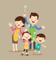 cute happy family cooking vector image vector image