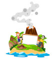 family holding frame at island vector image vector image