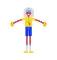 flat elderly woman sportsuit dumbbell lift vector image vector image