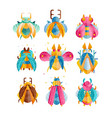 flat set of beetles with bright wings vector image vector image