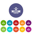 forest camping icons set color vector image