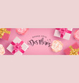 french mothers day banner with gifts and flowers vector image vector image