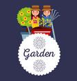 garden badge couple pot tree pitcfork wheelbarrow vector image
