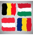 Grunge European flags set vector image