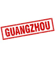 Guangzhou red square grunge stamp on white vector image vector image