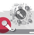 Hand drawn microphone icons with icons background vector image vector image