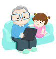 happy granddaughter play tablet with grandfather vector image