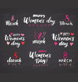 happy womens day hand letterings set holiday vector image vector image
