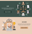 judiciary horizontal banners collection vector image vector image