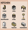 kitchen color outline isometric icons set vector image vector image