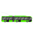large articulated trolleybus green with modern vector image